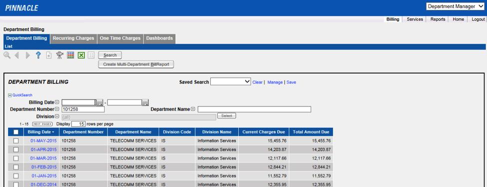Pinnacle Department Billing List