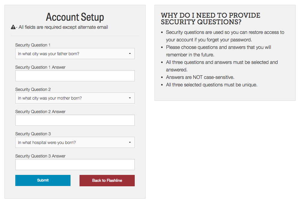 Account setup screen creating security questions.