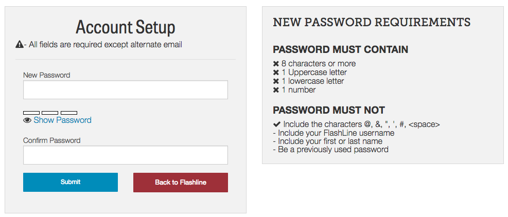 Account setup screen providing new password.