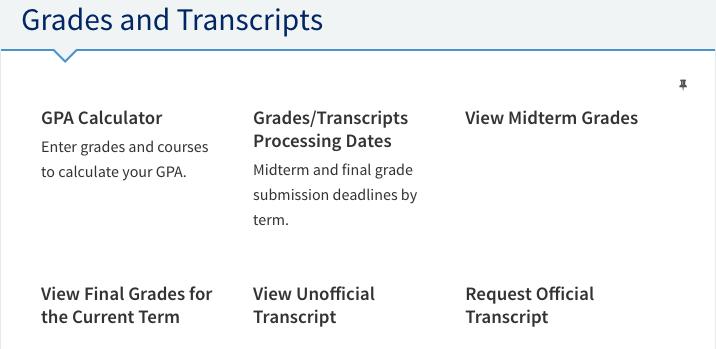 Grades and Transcript tools.