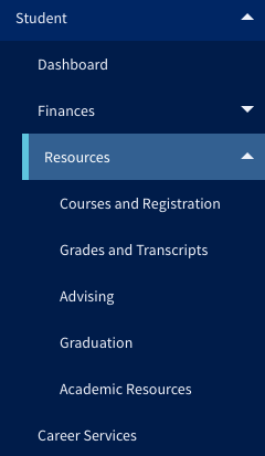 Grades and transcripts under the Student Resources menu.
