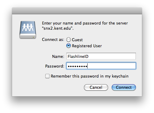 Enter your name and password prompt.