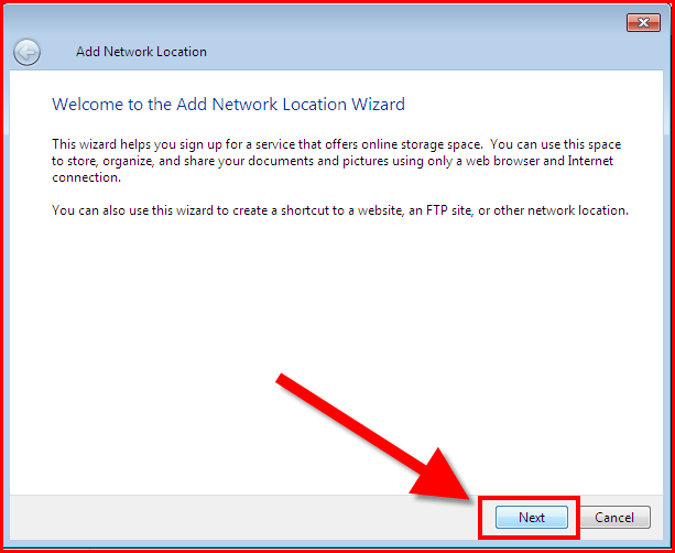 Add network location wizard dialog
