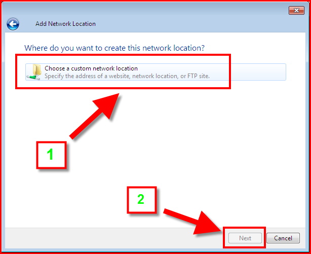 Choose a custom network location from the Add Network Location dialog box.