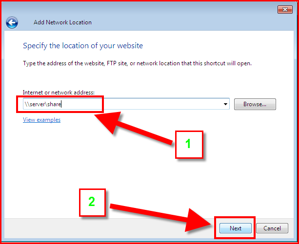 specify the \\server\share address in the add network location dialog box.