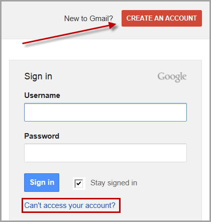 Create new Gmail account link