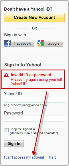Yahoo can't access my account link.