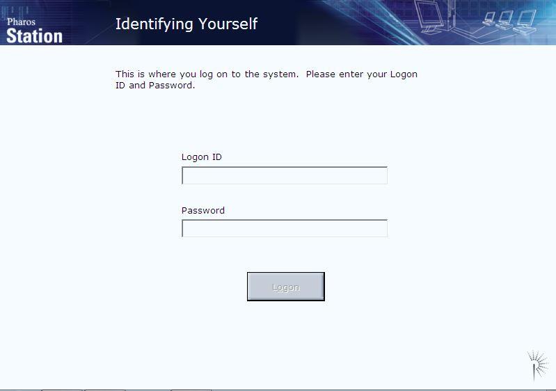 pharos login screen