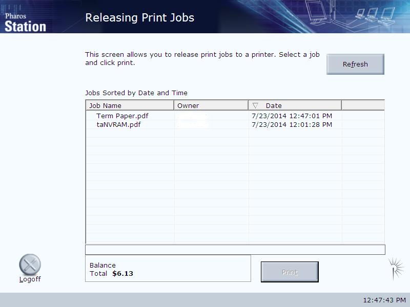 releasing print jobs screen