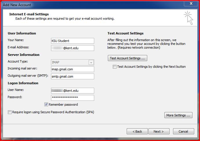 add new account screen