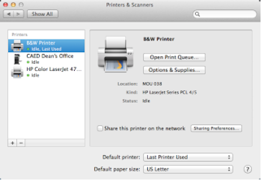 Mac Printers & Scanners System Preferences Window
